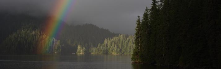 Rainbow at Warm Springs Bay, Alaska.