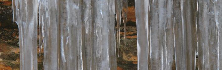 Icicles and limestone wall, Missouri Ozarks.